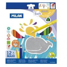 Värvipliiatsid Milan Maxi 12v kolmnurkne ,super soft